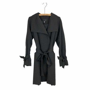 H Halston Soft Trench Coat Black Classic Staple